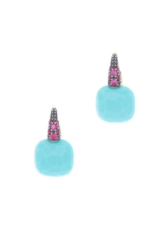 Capri Pink Gold Turquoise Ruby Earrings