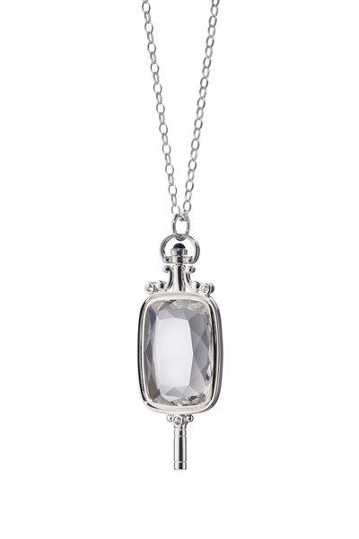 Monica Rich Kosann - Silver Sapphire Pocketwatch Key Charm Necklace