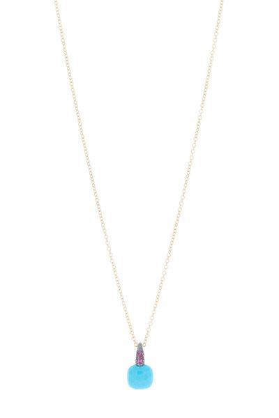 Pomellato - Capri Pink Gold Turquoise Ruby Pendant Necklace