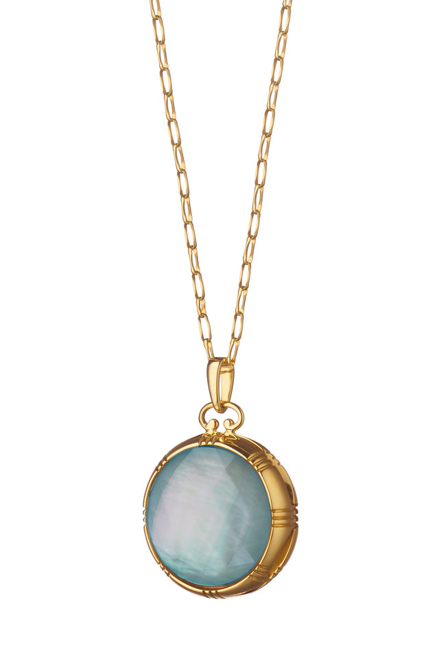 18K Gold Topaz & Mother of Pearl Locket Necklace