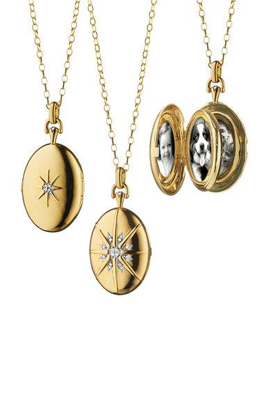 Monica Rich Kosann - 18K Yellow Gold Diamond Star Locket Necklace