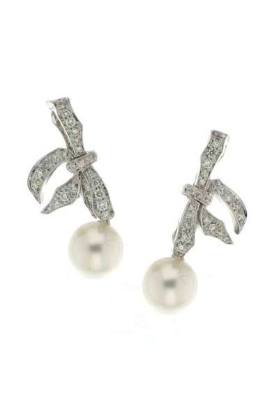 Mikimoto - White South Sea Pearl Diamond Earrings