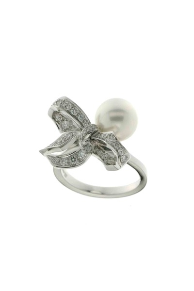 Mikimoto - White South Sea Pearl Diamond Ring