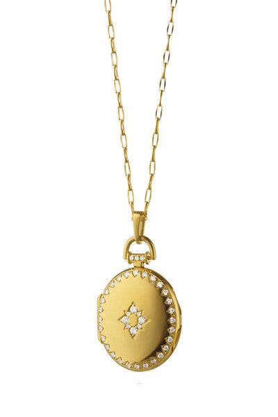 Monica Rich Kosann - 18K Yellow Gold Diamond Snowflake Locket Necklace
