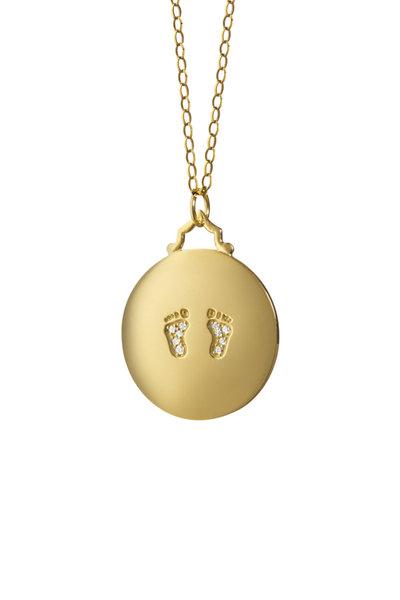 Monica Rich Kosann - 18K Yellow Gold Diamond Baby Feet Charm Necklace