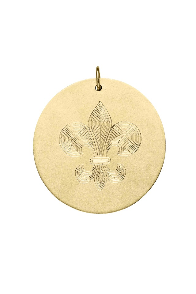 Yellow Gold Engraved Fleur De Lis Charm