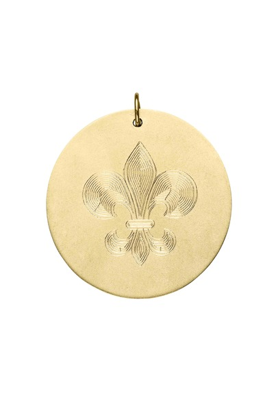 Emily & Ashley - Yellow Gold Engraved Fleur De Lis Charm