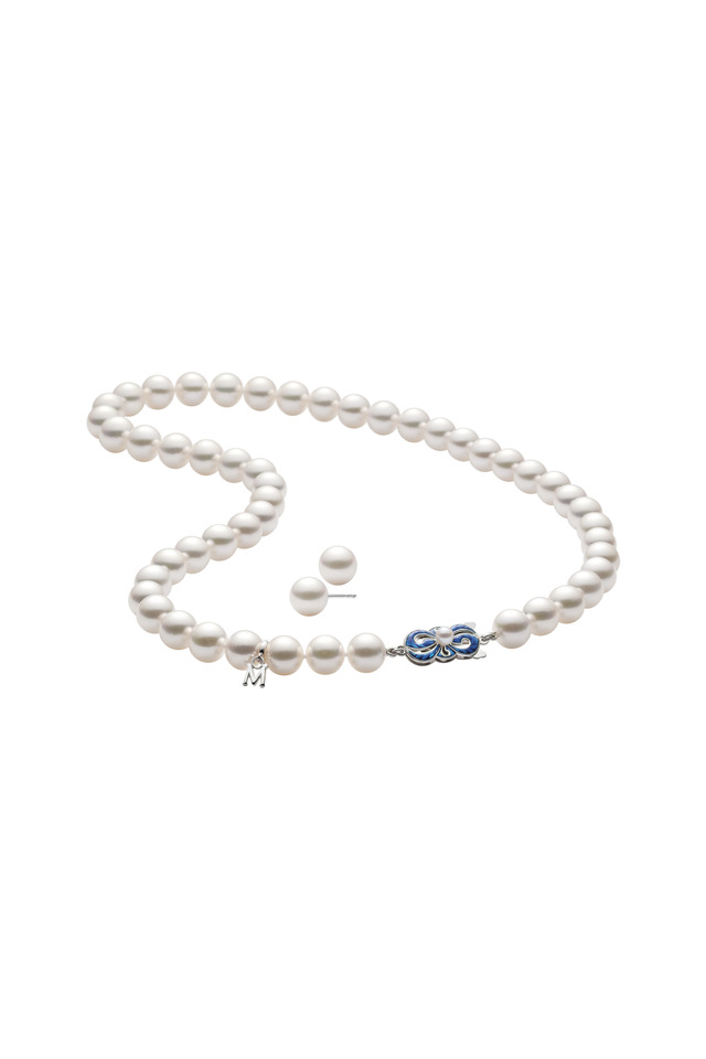 White Gold Akoya Pearl Stud Set & Necklace