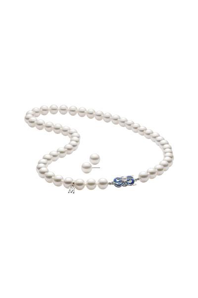 Mikimoto - White Gold Akoya Pearl Stud Set & Necklace
