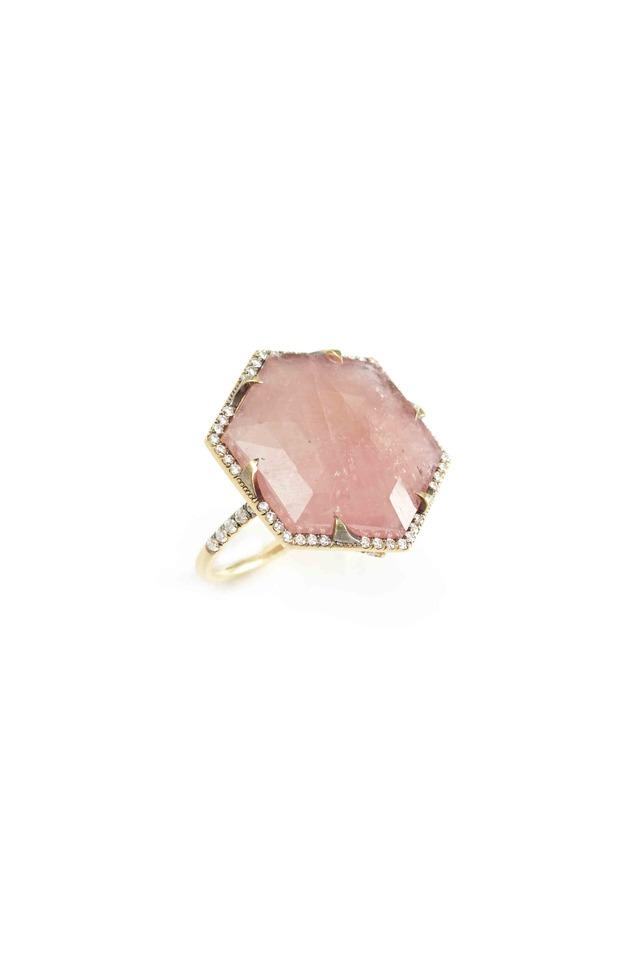 Gold Pink Sapphire & Diamond Ring