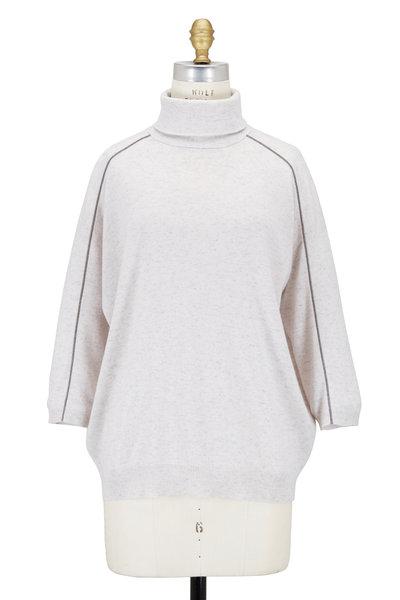 Brunello Cucinelli - Truffle Cashmere Monili Trim Turtleneck Sweater