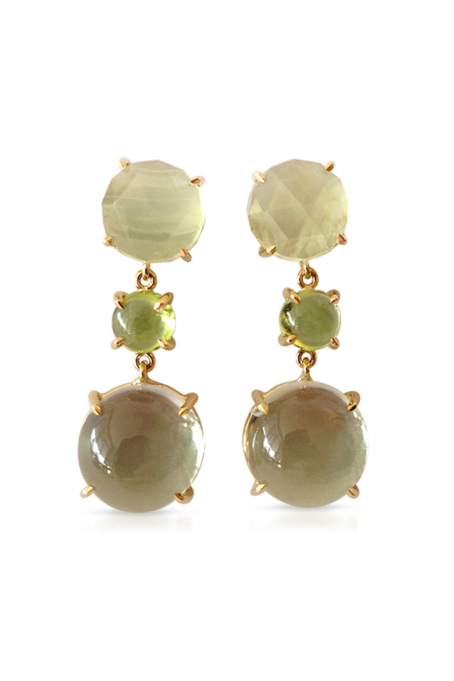 Peridot, Green Amethyst & Quartz Drop Earrings