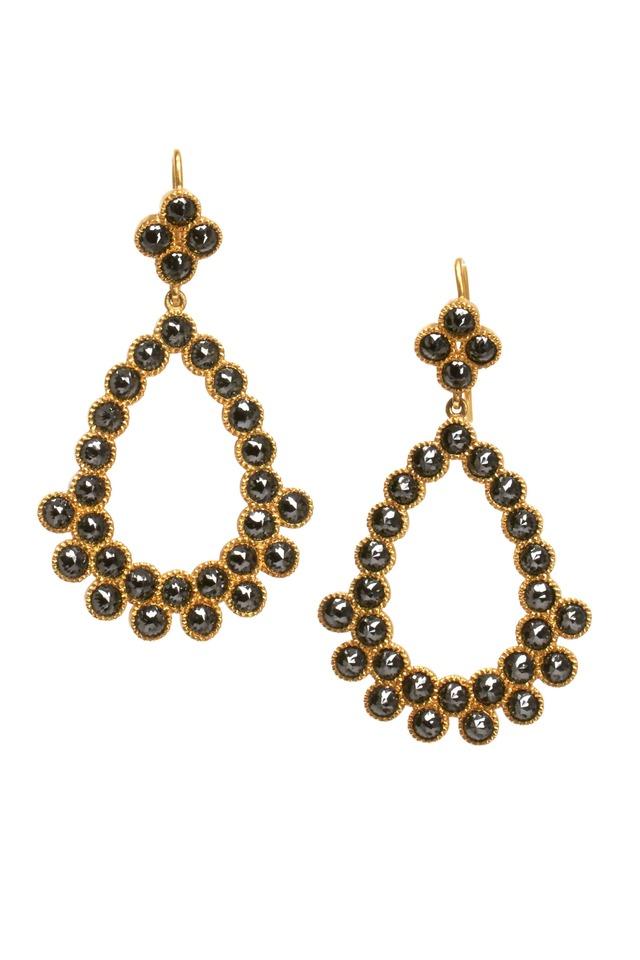 Gold Black Diamond Chandelier Earrings