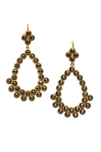 Sylva & Cie - Gold Black Diamond Chandelier Earrings