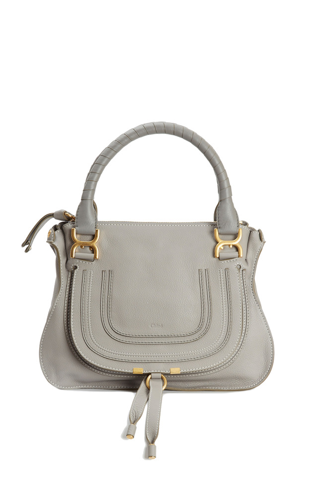 Marcie Cashmere Gray Leather Medium Shoulder Bag