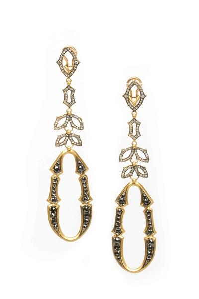 Sylva & Cie - Gold Black & White Diamond Perfect Bride Earrings