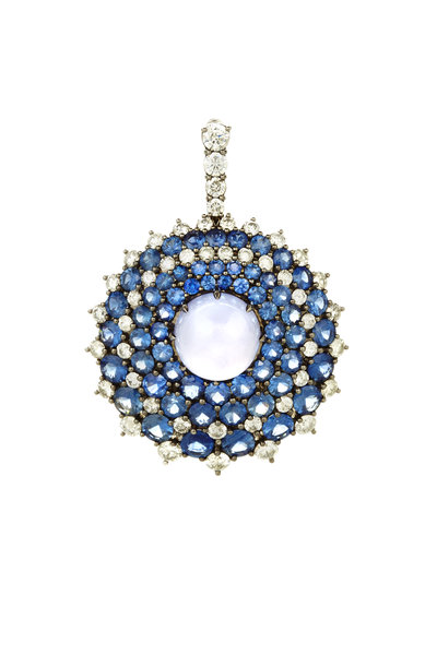 Nam Cho - Gold Sapphire & Chalcedony & Diamond Pendant
