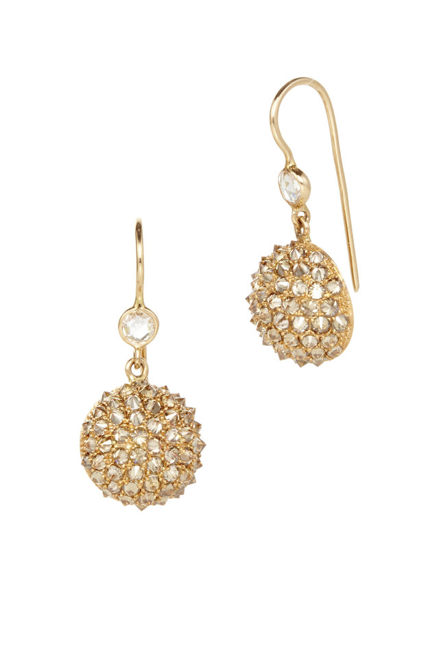Gold Half Ball Diamond Drop Earrings