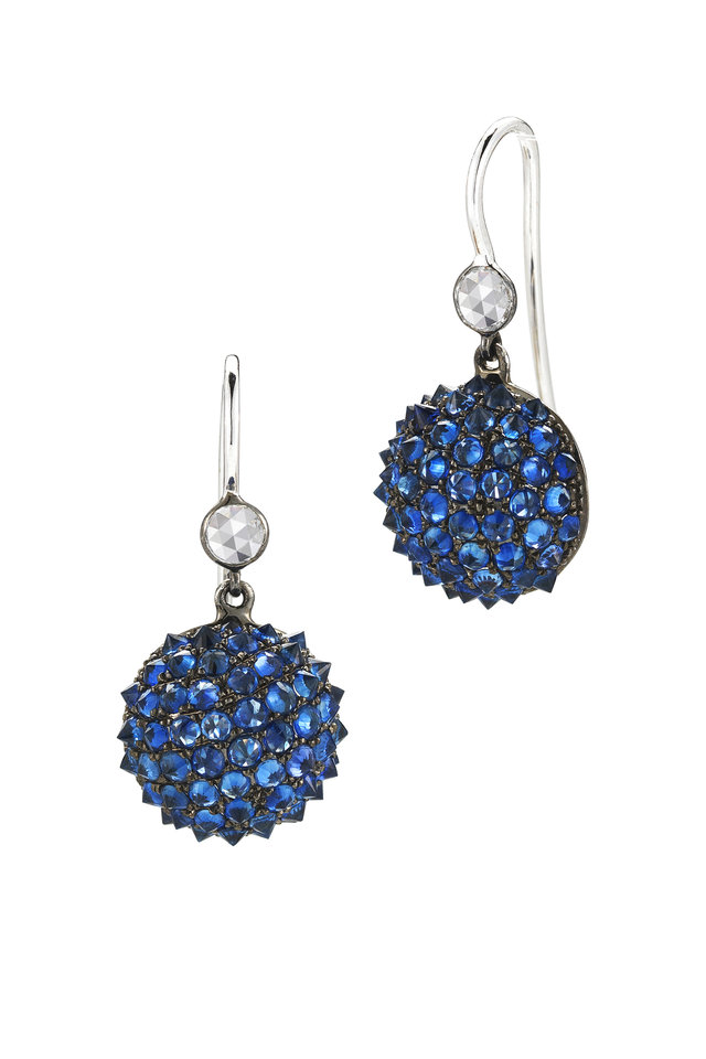 White Gold Blue Sapphire Diamond Earrings