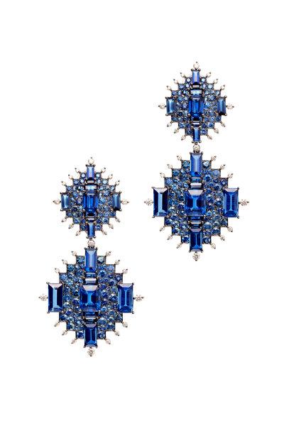 Nam Cho - Gold Blue Sapphire Kyanite Diamond Drop Earrings