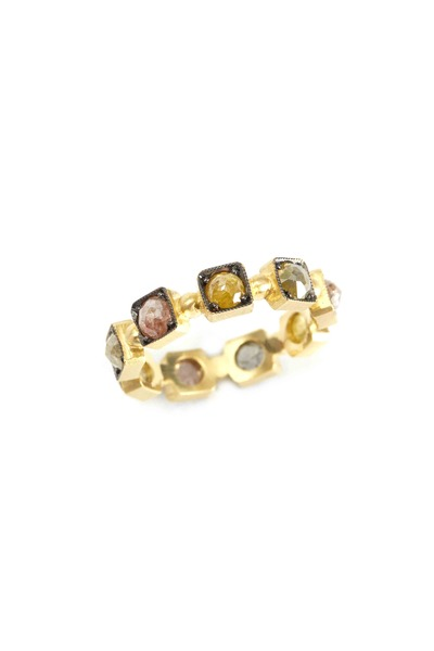 Sylva & Cie - 18K Yellow Gold Multi-Colored Diamond Band