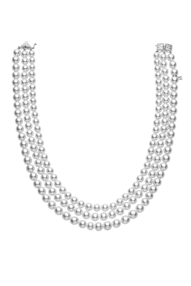 White Gold Triple Strand Pearl Necklace