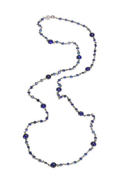 Nam Cho - White Gold Blue Sapphire Bead Chain Necklace