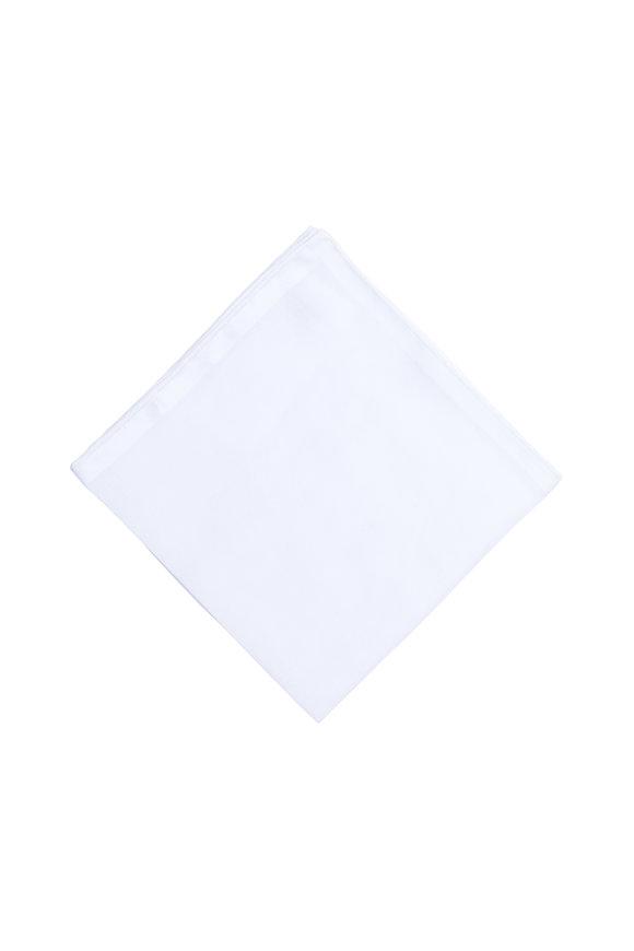 Simonnot-Godard Solid White Cotton Pocket Square
