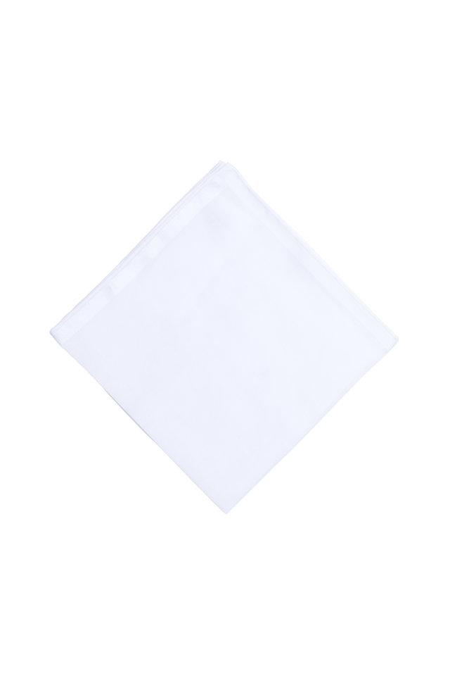Solid White Cotton Pocket Square