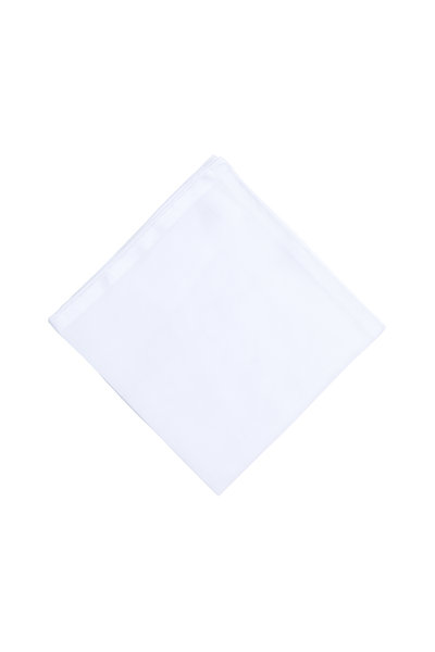 Simonnot-Godard - Solid White Cotton Pocket Square