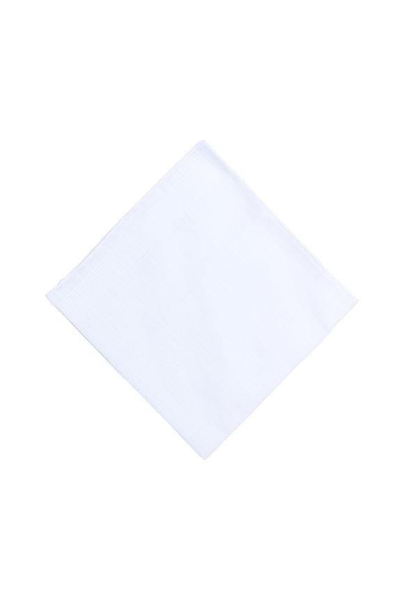 Simonnot-Godard Solid White Linen Pocket Square