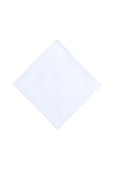 Simonnot-Godard - Solid White Linen Pocket Square