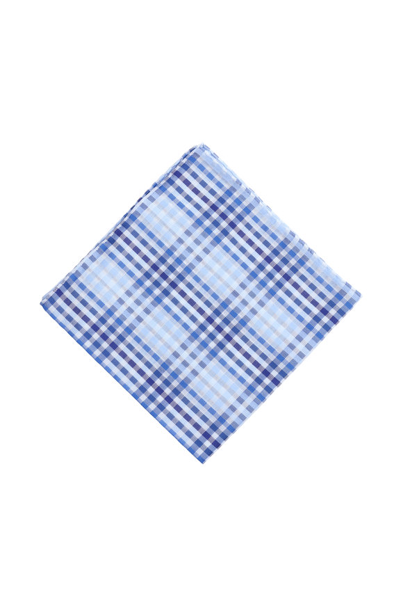 Simonnot-Godard Hampton Blue Plaid Cotton Pocket Square