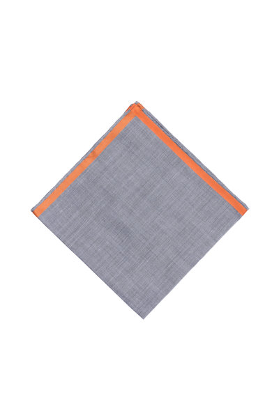 Simonnot-Godard - Almalfi Gray & Orange Cotton Pocket Square