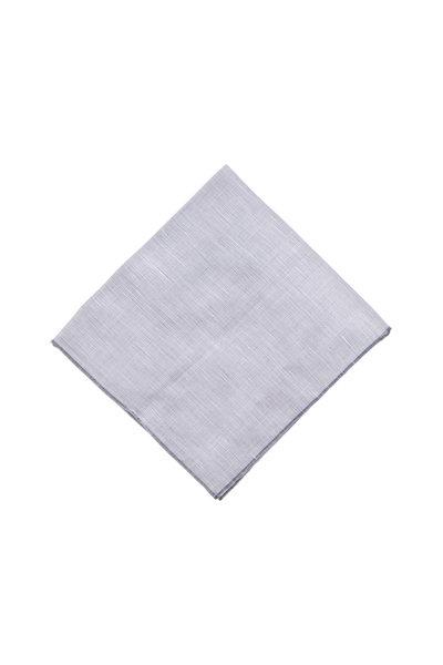 Simonnot-Godard - Gray Linen & Cotton Pocket Square