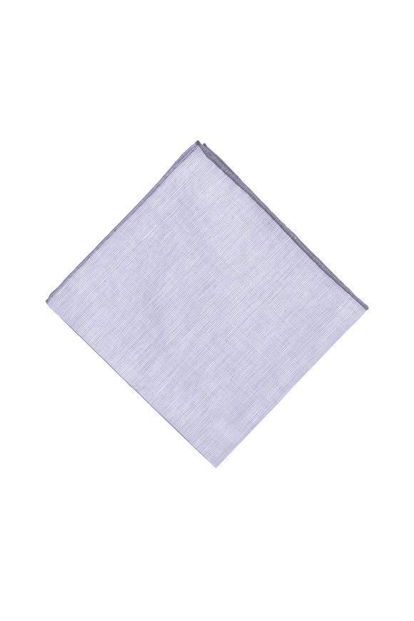 Simonnot-Godard Purple & Gray Linen Blend Pocket Square