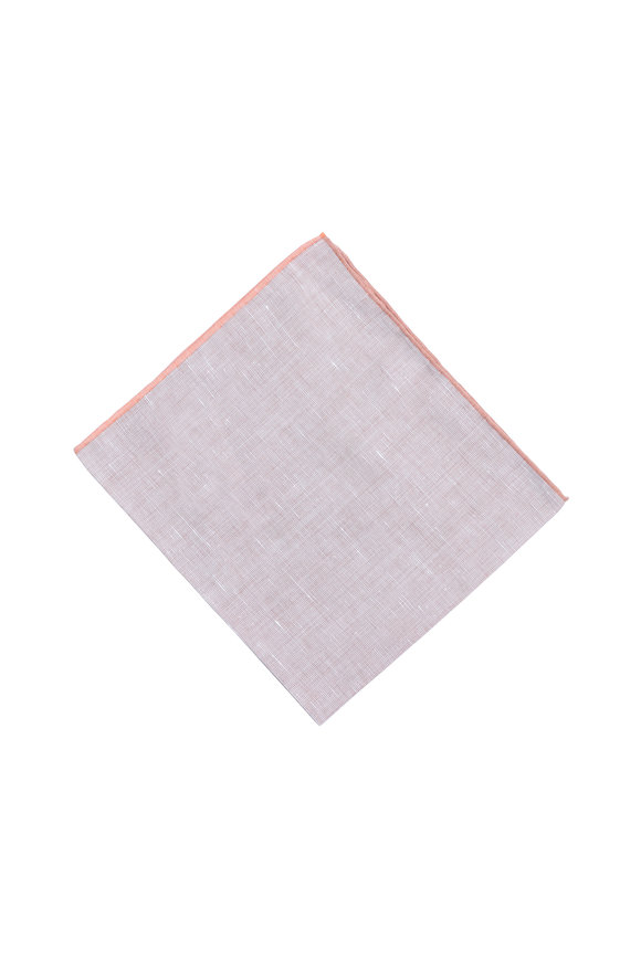 Simonnot-Godard Brown & Orange Linen Blend Pocket Square