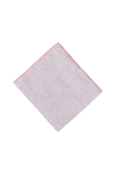 Simonnot-Godard - Brown & Orange Linen Blend Pocket Square