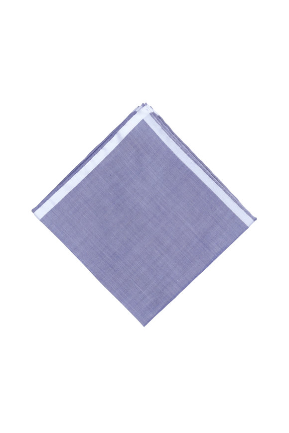 Simonnot-Godard Amalfi Blue & White Cotton Pocket Square