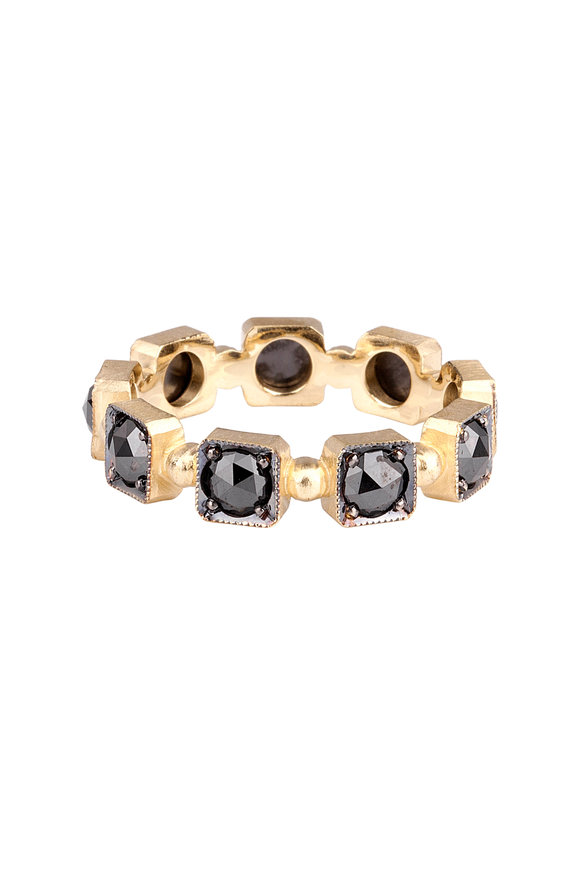 Sylva & Cie 18K Yellow Gold Black Diamond Band