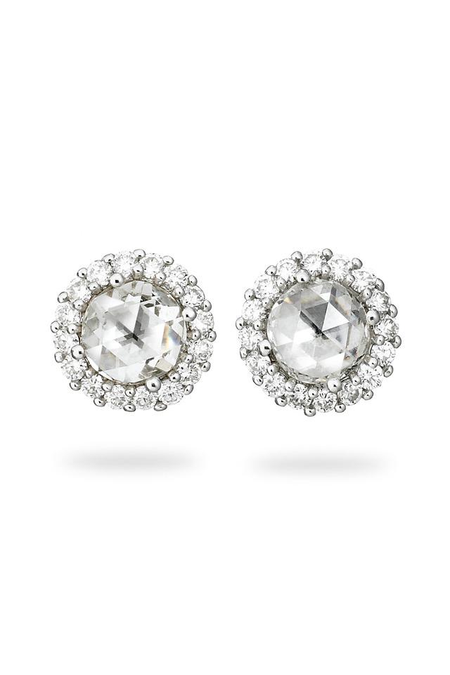 White Gold Rose-Cut White Diamond Stud Earrings
