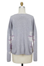 Bogner - Page Light Gray Wool Blend Floral Intarsia Sweater
