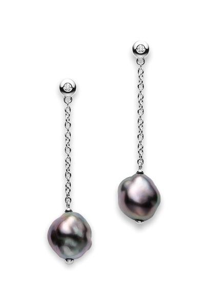 Mikimoto - Gold Baroque Black South Sea Pearl Dangle Earrings