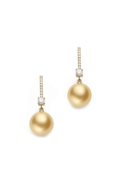 Mikimoto - White Gold South Sea Pearl Diamond Earrings