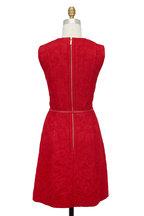 Elie Saab - Cardinal Red Brocade Belted Dress