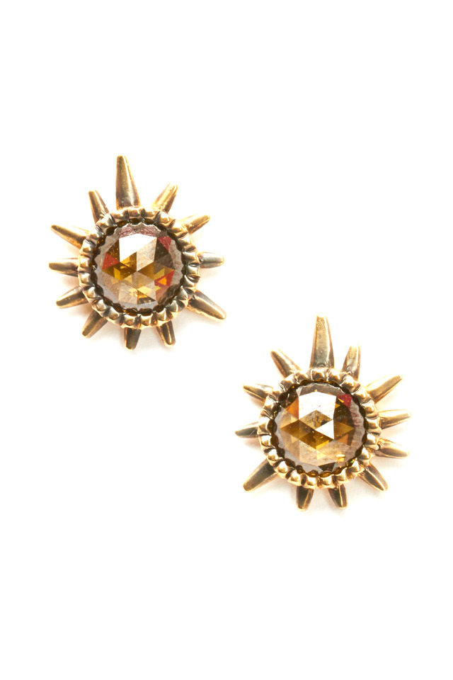 Gold Rough & Champagne Diamond Sunburst Earrings