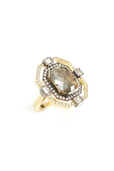 Sylva & Cie - Gold Rough & White Diamond Ring