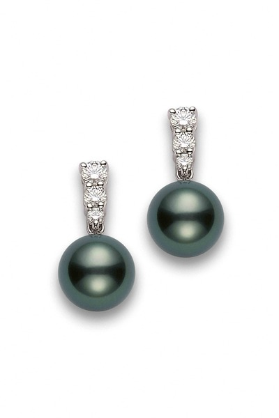 Mikimoto - White Gold Tahitian Pearl Diamond Earrings