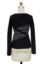Emporio Armani - Black & White Graphic Striped Sweater