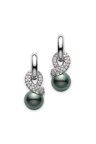 Mikimoto - White Gold Black South Sea Pearl Diamond Earrings